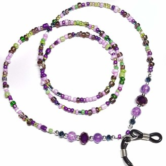 Tillylovesboo Glasses Chain - Beaded Spectacle Cord - Purple Pink Green Strap - 30 inches