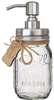 "Premium Rust Resistant 304 18/8 Stainless Steel, Iconic ""Ball"" Mason Jar Soap Pump / Lotion Dispenser Kit by Premium Home Quality - Includes 16 oz (Regular Mouth) Glass Mason Jar (Clear Ball Jar)"