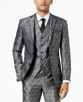 Tallia Orange Men's Big & Tall Modern-Fit Black Medallion Suit Jacket