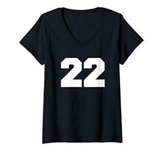 Womens Number 22 Sports Jersey Player Fan FRONT Print Varsity V-Neck T-Shirt