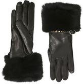 Valentino Rockstud Leather & Rabbit Fur Gloves