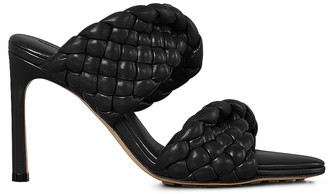 Bottega Veneta Padded Woven Leather Sandals in Black | FWRD