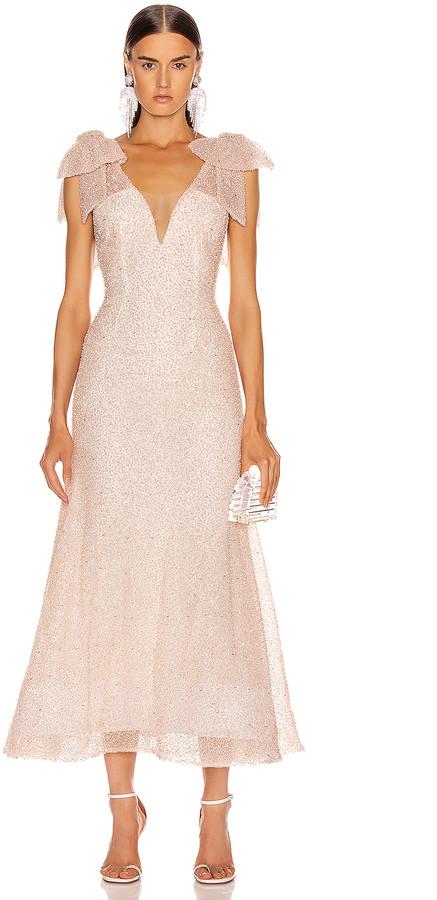Rodarte Sequin Beaded Bow Dress in Light Pink   FWRD