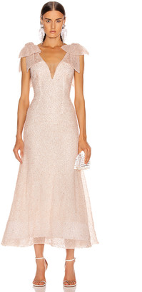 Rodarte Sequin Beaded Bow Dress in Light Pink | FWRD