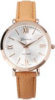Geneva Platinum Tan & Rose Gold Roman Numeral Faux Leather-Strap Watch