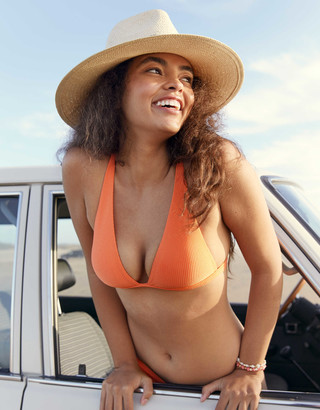 aerie Ribbed Shine Plunge Bikini Top