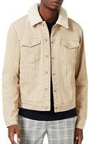 Topman Faux Shearling Lined Denim Jacket