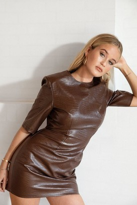 Nasty Gal Womens You Croc the Love Faux Leather Mini Dress - Brown - 8