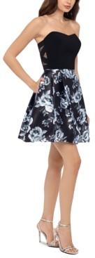 Blondie Nites Juniors' Strapless Floral-Print Dress