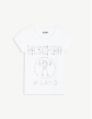 Moschino Crystal logo cotton-blend T-shirt 4-14 years