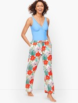 Talbots CRINKLE COTTON BEACH PANTS – BOLD HIBISCUS