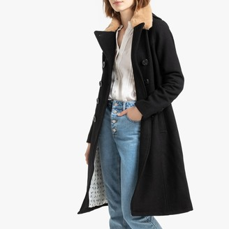 Schott Jkt Mainsail Long Duster Coat in Wool Mix with Faux Fur Collar