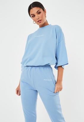 Missguided Tall Blue Oversized Drop Shoulder Slogan T Shirt