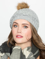 ELOQUII Plus Size Cable Knit Pom Pom Hat
