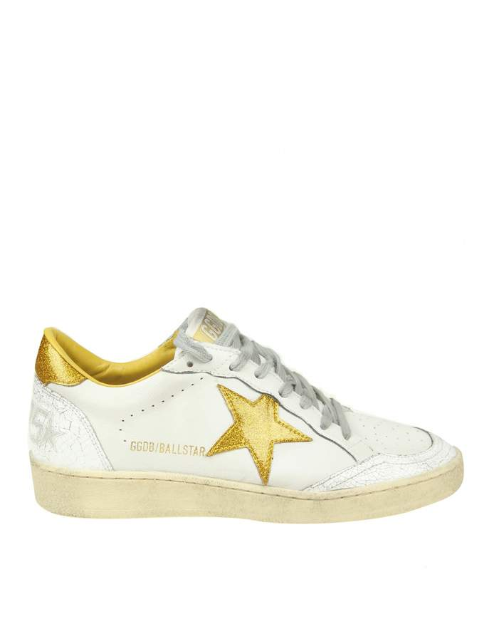 Golden Goose ball Star Sneakers In White Leather With Glitter Detail