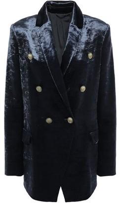 Brunello Cucinelli Double-breasted Cotton-blend Crushed-velvet Blazer