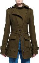 Alexander McQueen Felted Wool Two-Pocket Cargo Jacket, Olive