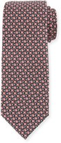 Neiman Marcus Floral-Print Silk Tie, Black