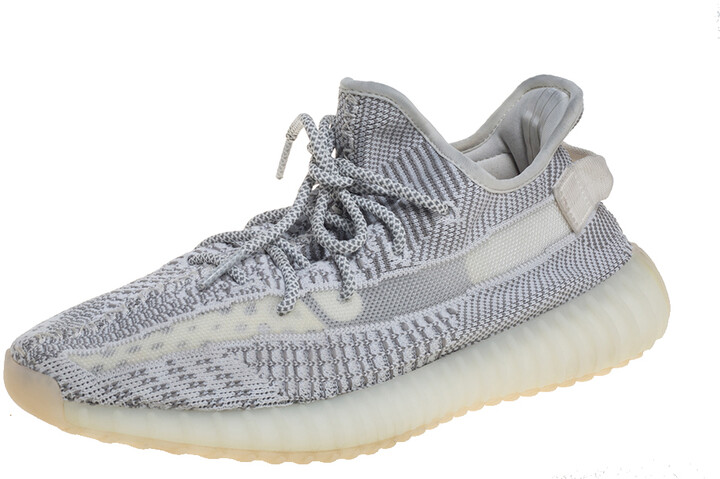 Yeezy x Adidas White/Grey Cotton Knit Boost 350 V2 Static Non Reflective Sneakers Size 44
