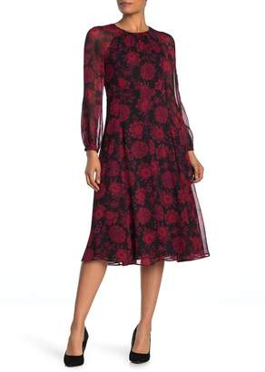 Tommy Hilfiger Floral Long Sleeve A-Line Midi Dress
