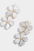 francesca's Lucille Floral Shell Statement Earrings - White