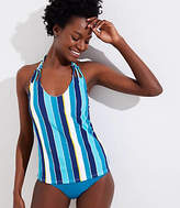 LOFT Beach Striped Knotted Halter Tankini Top