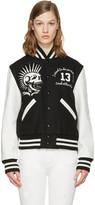 R 13 Black Vintage Varsity Bomber Jacket