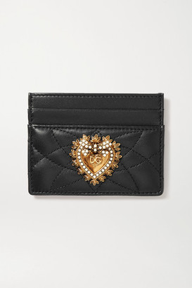 Dolce & Gabbana Devotion Embellished Quilted Leather Cardholder - Black