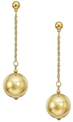 Kenneth Jay Lane 20mm Polished Gold Ball 1.5 Chain With Ball Top Post Earrings (Polished Gold) Earring