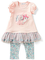 Bonnie Jean Little Girls 2T-4T Ruffle-Hem Hedgehog Dress & Printed Leggings Set