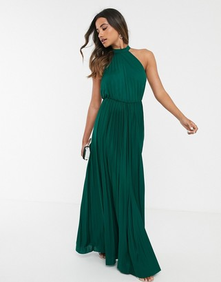 Asos Design DESIGN halter pleated waisted maxi dress-Green