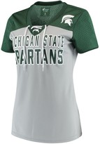 G Iii Women's G-III 4Her by Carl Banks Gray/Green Michigan State Spartans Shake Down Mesh Lace-Up V-Neck T-Shirt