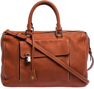 Carolina Herrera Cinnamon Brown Leather Front Pocket Satchel
