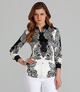 Adrianna Papell Printed Button-Front Blouse