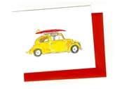 BRITTNEY BANKS Yellow VW Bug With Surfboard Card