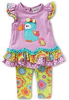 Rare Editions Baby Girls 3-24 Months Parrot-Applique Top and Leggings Set