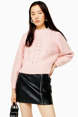 Topshop Womens Pink Knitted Pointelle Crop Jumper - Pink