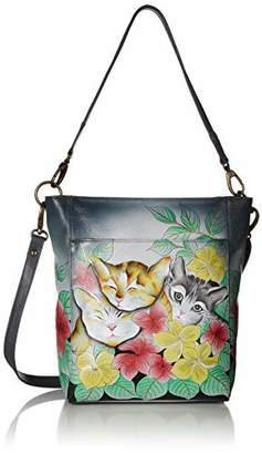 Anuschka Anna by Women's Genuine Leather Large Hobo Handbag | Hand Painted Original Artwork | Zip-Top Organizer |