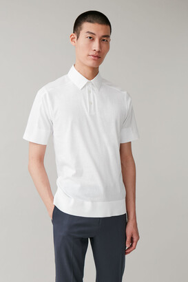 Cos Woven-Panelled Polo Shirt