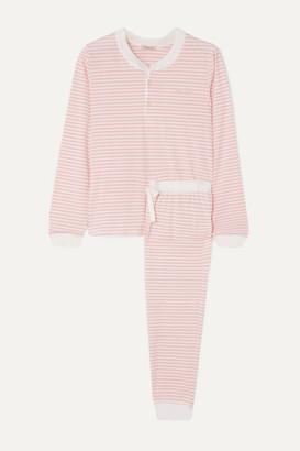 Morgan Lane Kaia Embroidered Striped Stretch-cotton Jersey Pajama Set - Pink