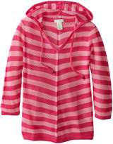 Caribbean Joe Women's Plus-Size Hooded Open Stitch Striped Long Sleeve Sweater