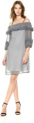 Gabby Skye Women's Checkered Cold Shoulder Dress