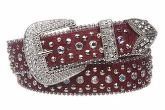 Beltiscool Snap On Western Cowgirl Alligator Rhinestone Studded Leather Belt