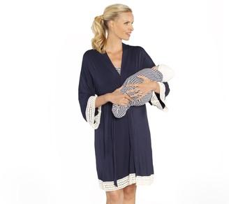 Angel Maternity Blooming Women Maternity 3-Piece Hospital Robeand Dress Set