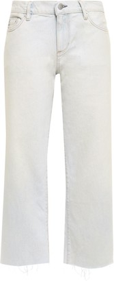 Simon Miller Cropped Frayed Mid-rise Wide-leg Jeans