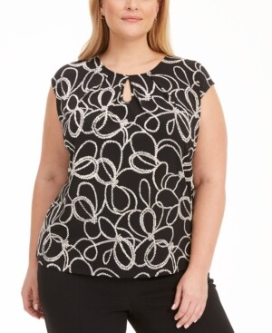 Kasper Plus Size Cap-Sleeve Printed Keyhole Stretch Top