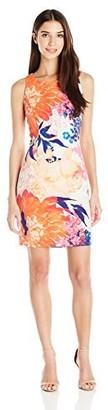 Ellen Tracy Women's Petite Floral Printed Ponte Dress