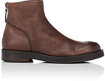 Barneys New York Men's Leather Back-Zip Boots - Brown