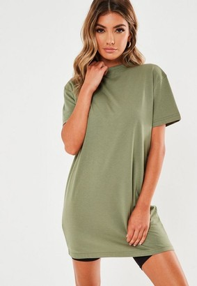 Missguided Petite Green Basic T Shirt Dress