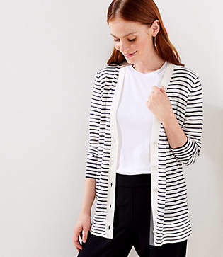 LOFT Striped Boyfriend Cardigan